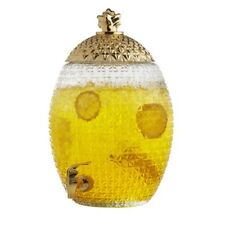 Brilliant - Large Pineapple Glass Beverage Dispenser with Gold Lid and Spout