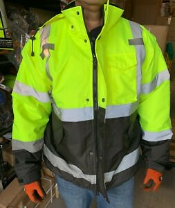 Class 3 Reflective Safety Bomber Jacket with Quilted Liner, Yellow/Lime