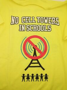 No Cell Phone Towers in School Neon Yellow Medium T-Shirt Conspiracy Propaganda