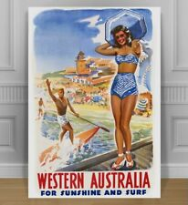 "VINTAGE WESTERN AUSTRALIA BEACHES TRAVEL POSTER CANVAS PRINT ART - 24x18"""