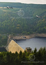 Both airworthy Lancaster Bombers over Derwent Dam 2014. Post Card size