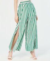 Lucy Paris Womens Pants White Green Size XL Indie Striped Slit-Leg $69 269