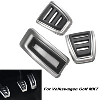 3Pc Car Clutch Brake Accelerator Manual Pedal Footrest Pad Cover For VW Golf MK7