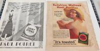 .1929 & 1931 LUCKY STRIKE CIGARETTES LARGE USA MAGAZINE ADVERTS, TEXACO TO REAR