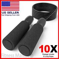 Gym Aerobic Exercise Boxing Skipping Jump Rope Adjustable Bearing Speed 10 Ropes
