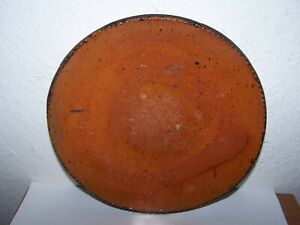 "Early American redware 8"" shallow bowl or plate Coggled edge"