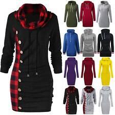Women Winter Hoodie Sweatshirt Sweater Casual Pullover Tops Jumper Mini Dress US