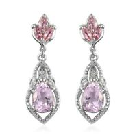 925 Sterling Silver Kunzite Pink Tourmaline Drop Dangle Earrings Gift Ct 3.8