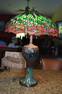 """Tiffany Style Turtleback Table Lamp Reproduction STUNNING 32"""" High"""