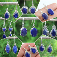 925 SOLID STERLING SILVER JEWELRY HANDMADE  EARRING IN SAPPHIRE CORUNDUM
