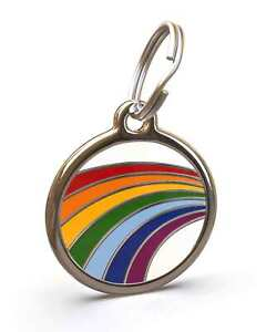 Pet Dog Cat ID Engraved Name Tag Personalized Stainless Steel Gay Pride Rainbow