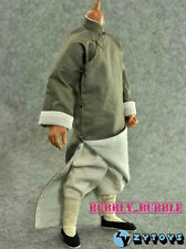 1/6 Bruce Lee Gray Color Chinese Style Kung Fu Robe Costume Set SHIP FROM USA