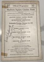 ULTRA RARE LESTER PATRICK SIGNED MSG MADISON SQUARE GARDEN 1933 HOCKEY PROGRAM