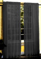New 2 Pieces Sexy Sheer Voile Window Curtain Panel Set Black