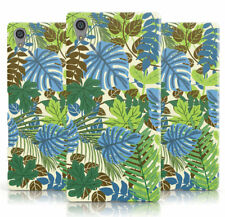 DYEFOR GREEN BLUE LEAF EXOTIC PRINT CREAM PHONE CASE COVER FOR SONY XPERIA