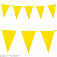 10m Giant YELLOW Plastic Pennant Banner Party Bunting Decoration