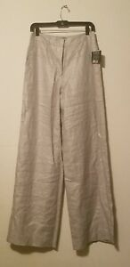 NWT Robert Rodriguez Women's High Waisted Wide Leg  Linen Pants Silver sz 6