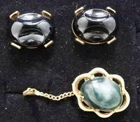 Vintage Goldtone  Cufflinks And Tie Tack Set