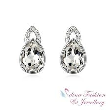 18k White Gold Plated Made With Swarovski Crystal Clear Teardrop Stud Earrings