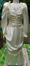 "Gorgeous Vintg Satin Victorian Replica Wedding Gown w/Ruffled Backview 38""b,31""w"