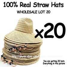 WHOLESALE LOT OF 20 Straw Hats with adjustable string