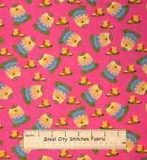 Easter Fabric - Egg Butterfly Toss Pink Yellow Hallmark Free Spirit - 1.7 Yards