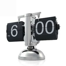 Small Scale Table Clock Retro Flip Over Clock Stainless Steel Flip Internal Gear
