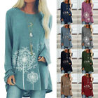 Women Casual Floral Print T Shirt Crew Neck Long Sleeve Blouse Loose Tunic Tops