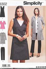 SIMPLICITY SEWING PATTERN 8302 WOMENS 20W-28W DRESS TUNIC PANTS COAT, PLUS SIZES
