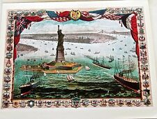 STATUE OF LIBERTY Historical Reprint by R Schwarz Offset Lithograph 14x11