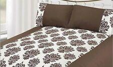 EJ Home Single Duvet Quilt Cover White & Brown Velvet Damask Floral Bedding Set