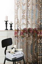 2Panels Embroidered 3D Floral Sheer Voile Curtain Net Panel Customizable Sheer