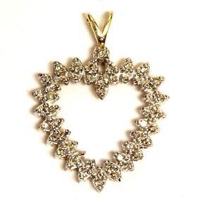 10k yellow gold .49ct SI2 I1 J womens diamond heart pendant 3.6g estate ladies