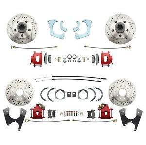 1965-68 Chevy Impala Performance 4 Wheel Disc Brake Conversion Kit RED Calipers