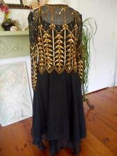 Women's Vintage Daval Black Gold Sequin Beaded Cocktail Evening Wear Dress Sz M