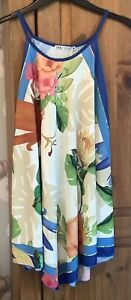 ZARA CREAM WITH BLUE & PINK FLORAL HANKY TOP SIZE XL 16 SLEEVELESS
