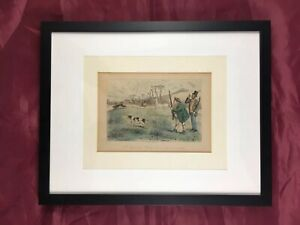 "John Leech Etching "" Mr. Jogglebury Crowdey With His Dog And His Gun "" Hunting"