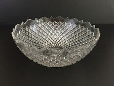 Antique DIAMOND POINTS pressed glass punch, salad bowl Northwood Glass 1900's
