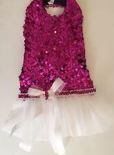 Fancy Dog Dress Fushia Sequin Drop Skirt w Bow M/L Holiday Handmade USA 1018