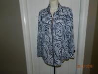 Womens Michael Kors Navy Blue Paisley Full Zip Long Sleeve Shirt Top, Size 10 M