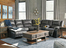 INTRIGUE 6 piece Living Room Gray Faux Leather Recliner Sofa Couch Sectional Set