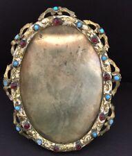 Dore Bronze Antique Art Nouveau Jeweled  Picture Frame