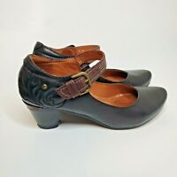 Pikolinos EU 38 US 7.5 or 8 Black & Brown Stitched Mary Jane Pumps Heels Shoes