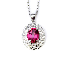 Noble Jewel Pink Topaz 925 Sterling Silver Pendant Necklace