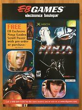 Ninja Gaiden Xbox Original 2004 Vintage Poster Ad Art Print EB GAMES Promo Rare