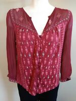 Lucky Brand Womens Size XS 3/4 Sleeve Blouse Top Red Printed&Embroidered