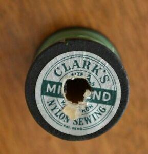 Vintage Clark's Mile-End Nylon Thread Black Wooden Spool Green