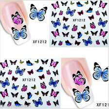 Nail Art Water Decals Transfers Summer Rainbow Butterflies Gel Polish (1212)