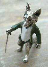 More details for english hallmarked sterling silver & enamel mr tod fox in hunting jacket & stick