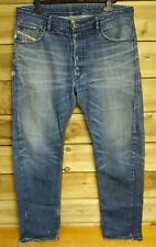 Men's Diesel Jeans - W34 L32 - Blue Denim Classic Faded Distressed Look Style